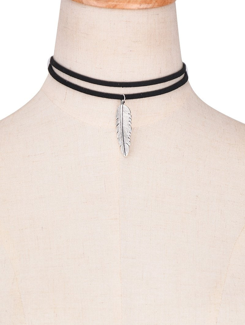 Faux Leather Alloy Feather Choker Necklace With 2020 Black Leather Feather Choker Necklaces (View 17 of 25)