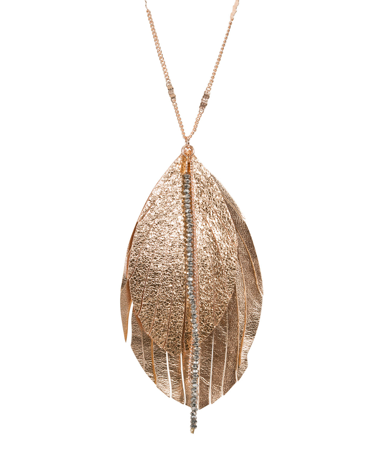 Faux Leather Feather Pendant Necklace | Rose Gold | Rickis In 2019 Golden Tan Leather Feather Choker Necklaces (View 9 of 25)