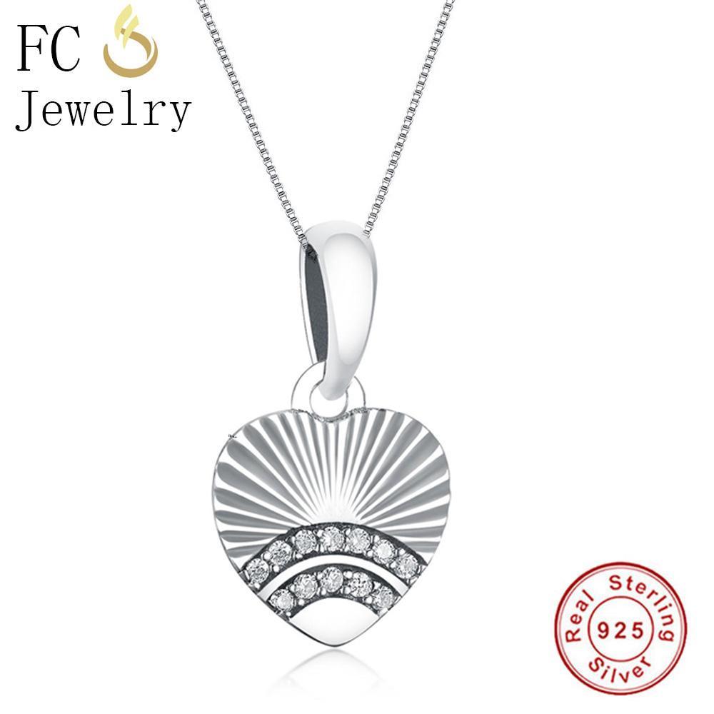 Fc Jewelry 925 Sterling Silver Fan Of Love Heart Radiant Shine Mix Cubic  Zirconia Pendant Necklace For Women Girl Trinket Choker Inside Recent Heart Fan Pendant Necklaces (Gallery 4 of 25)