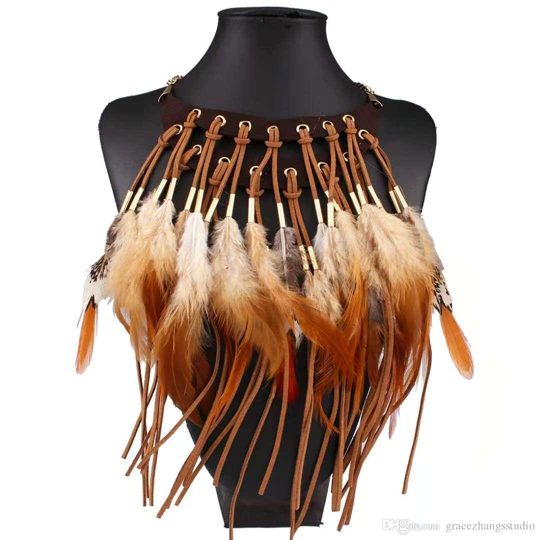 Feathers Tassel Pendant Necklaces Women Girl Double Deck Leather Choker  Bohemian Ethnic Style Jewelry Aboriginal Stage Decoration Accessory Pertaining To Most Popular Golden Tan Leather Feather Choker Necklaces (View 10 of 25)