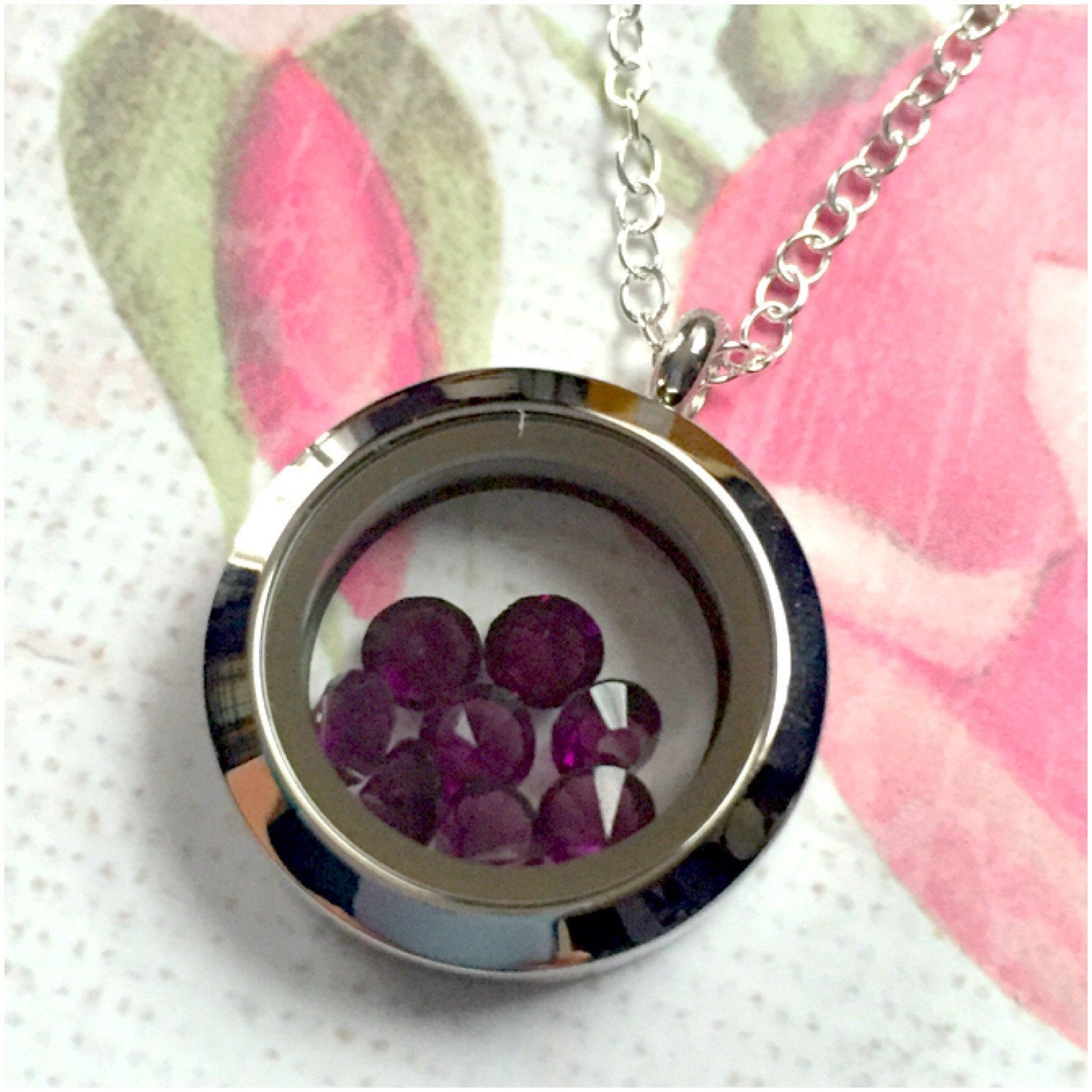 February Locket – February Necklace – February Birthstone – Pisces Zodiac  Sign Aquarius Astrological Sign – Purple Crystal – Amethyst Stone With Most Recently Released Purple February Birthstone Locket Element Necklaces (Gallery 1 of 25)