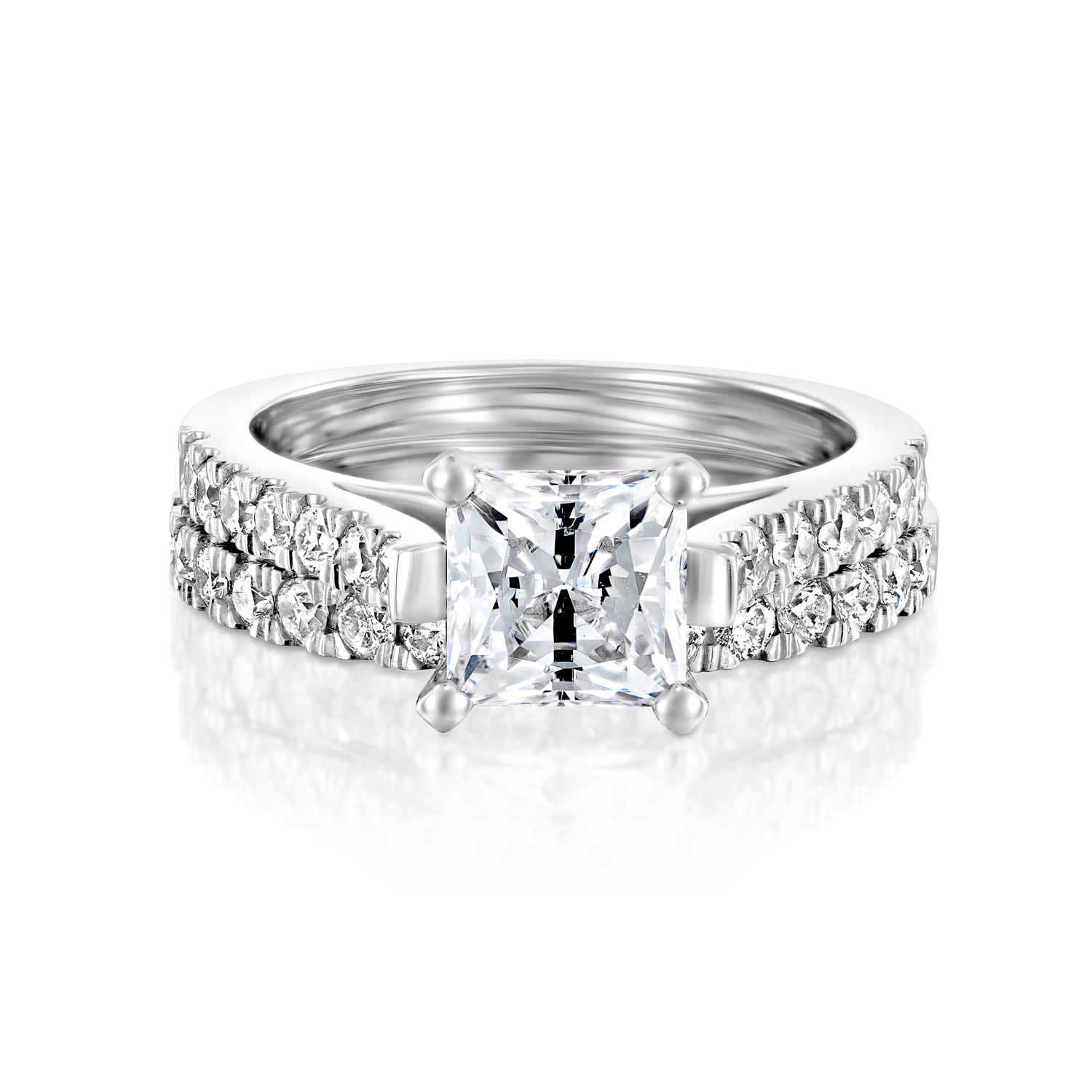 Felicienne Premier In White Gold 0.60Ct (1.50Cttw) Throughout Most Current Enhanced Blue Diamond Vintage Style Anniversary Bands In White Gold (Gallery 23 of 25)