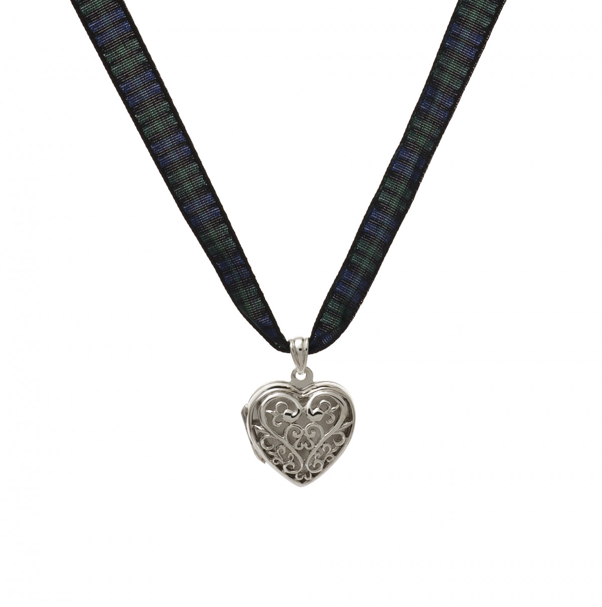 Filigree Heart Tartan Ribbon Necklace | Clanscotweb Inside Most Current Ribbon Open Heart Necklaces (View 12 of 25)