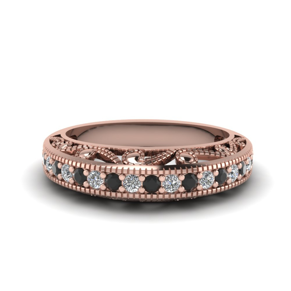 Filigree Paisley Antique Anniversary Band Throughout Current Diamond Vintage Style Anniversary Bands In Rose Gold (View 14 of 25)