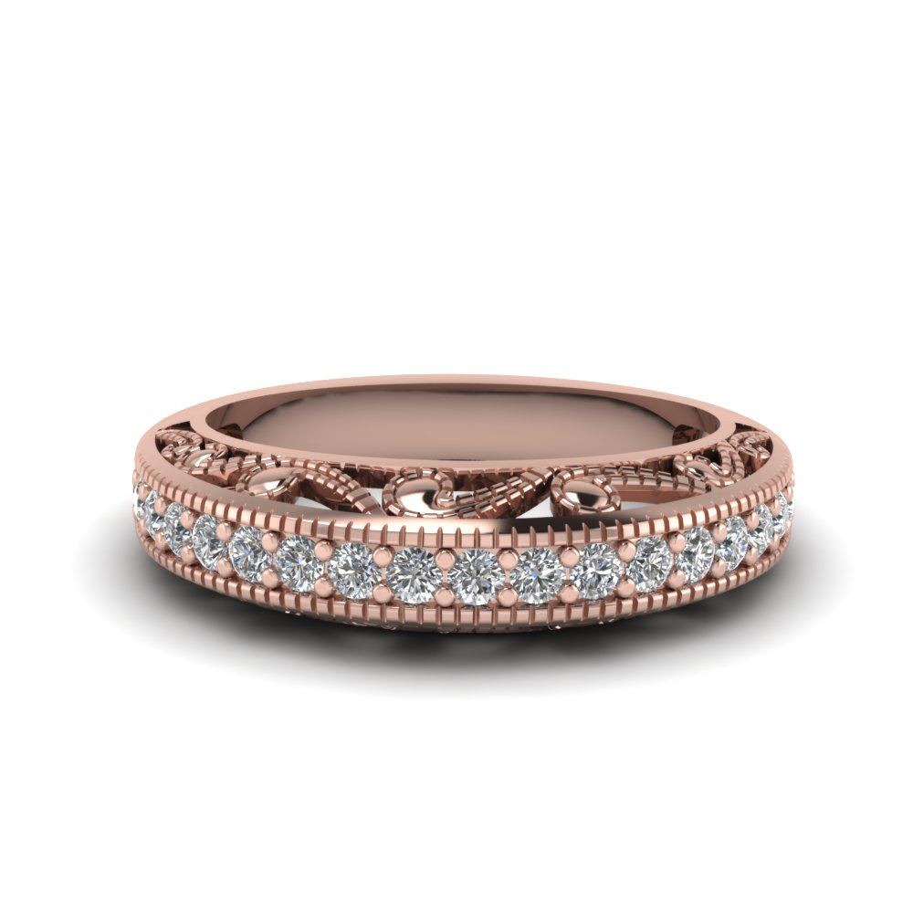 Filigree Paisley Antique Anniversary Band With 2019 Diamond Anniversary Bands In Rose Gold (View 2 of 25)