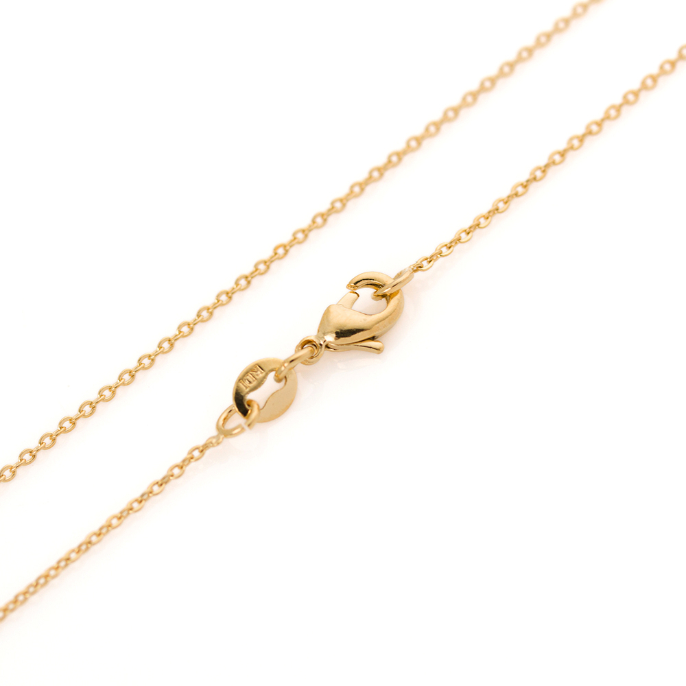 Fine Gold Filled Solid 18K Gold Filled Over 1.3Mm Thin Cable Chain In Most Popular Classic Cable Chain Necklaces (Gallery 15 of 25)