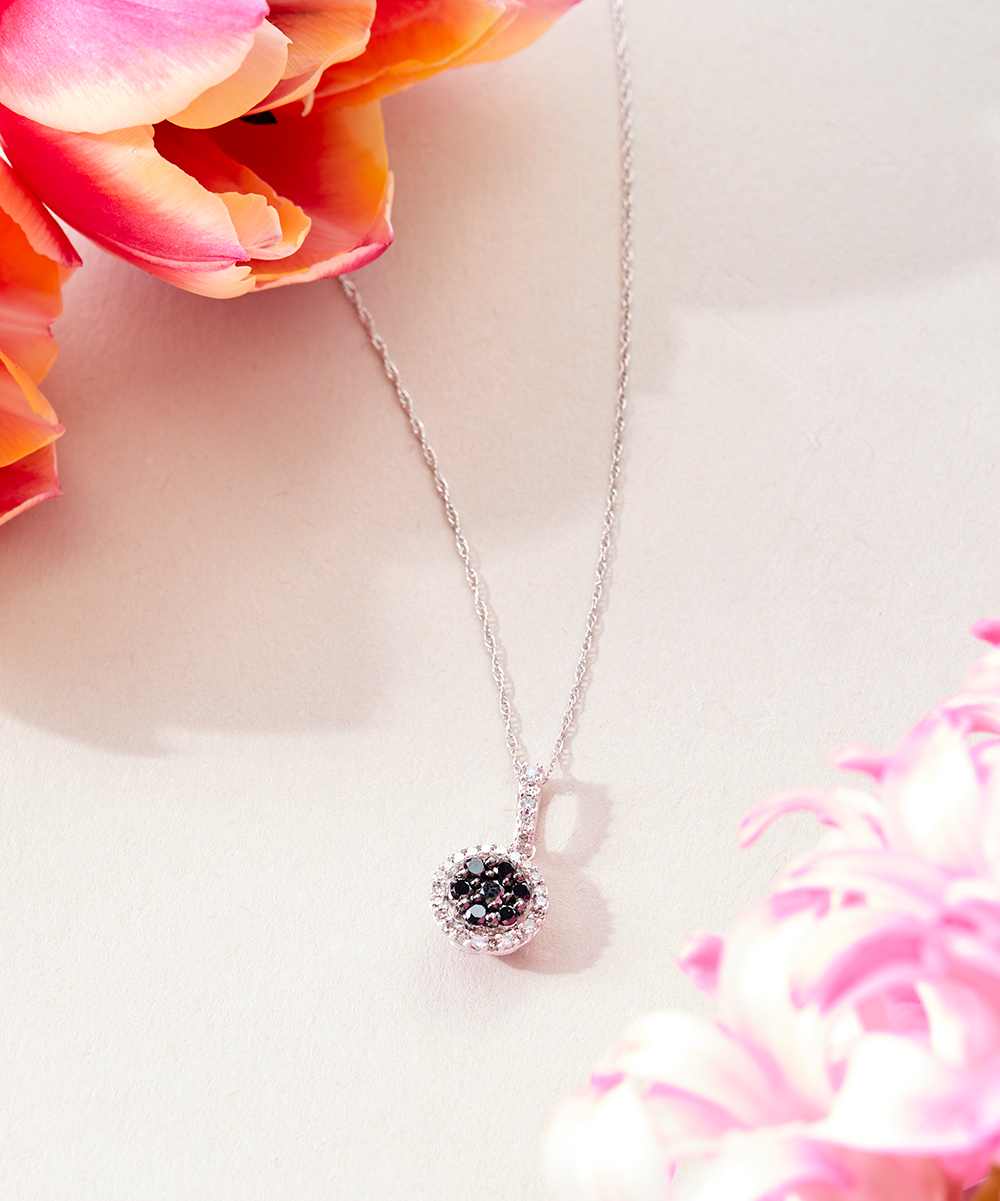Finecraft Black Diamond & 10K White Gold Round Halo Pendant Necklace Throughout Most Popular Round Sparkle Halo Pendant Necklaces (View 7 of 25)