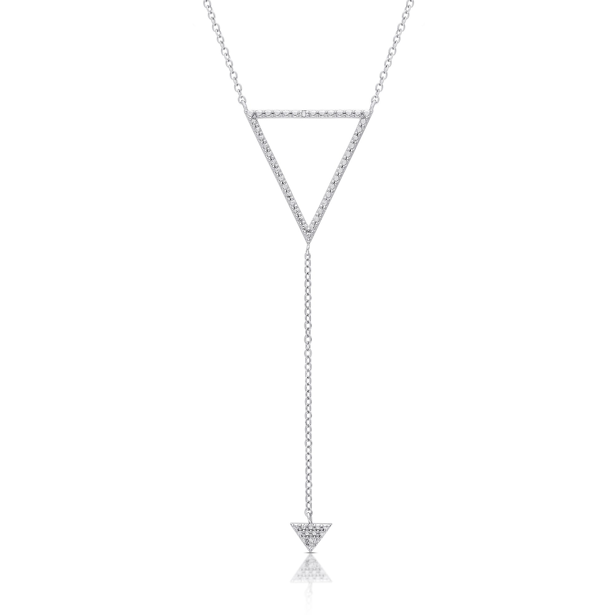 Finesque Sterling Silver Diamond Accent Triangle And Arrow Necklace In Recent Sparkling Arrow Necklaces (Gallery 23 of 25)
