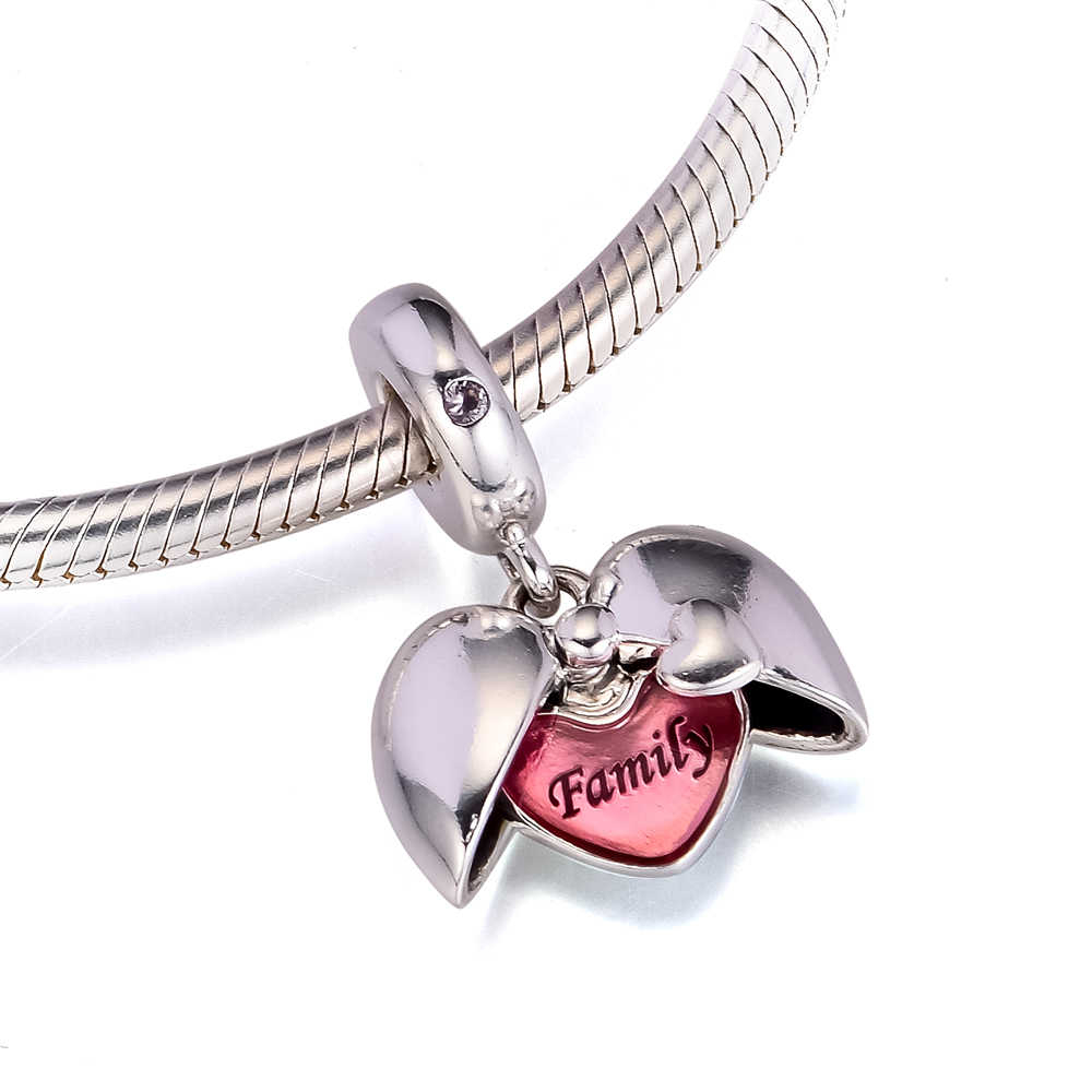 Fits For Pandora Beads Bracelets Family Locket Charms With Pink Pertaining To Most Recently Released Pandora Lockets Logo Heart Dangle Charm Necklaces (View 6 of 25)