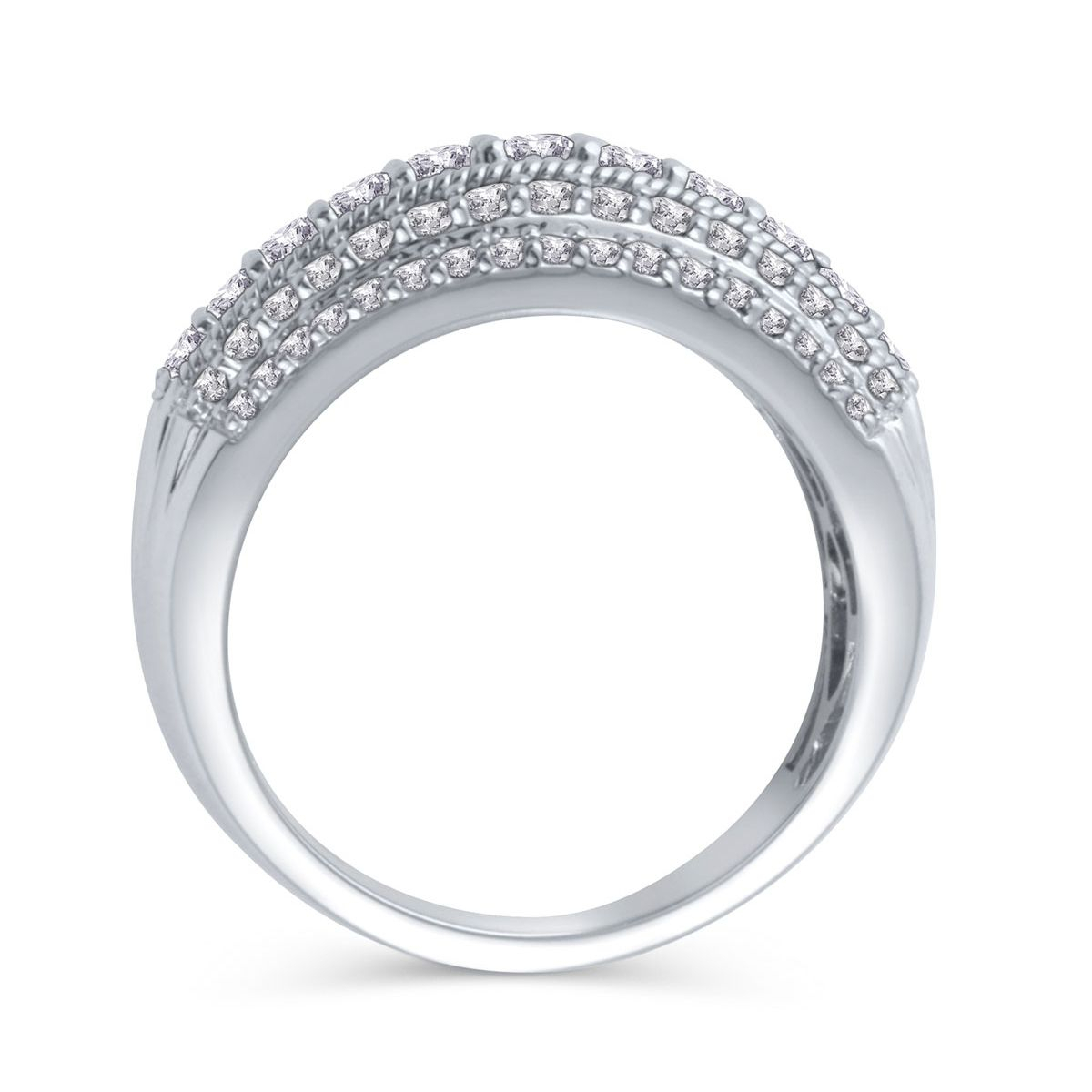 Five Row Diamond Anniversary Band In 14K White Gold, 1Ctw Inside Most Recently Released Diamond Five Row Anniversary Rings In White Gold (View 14 of 25)