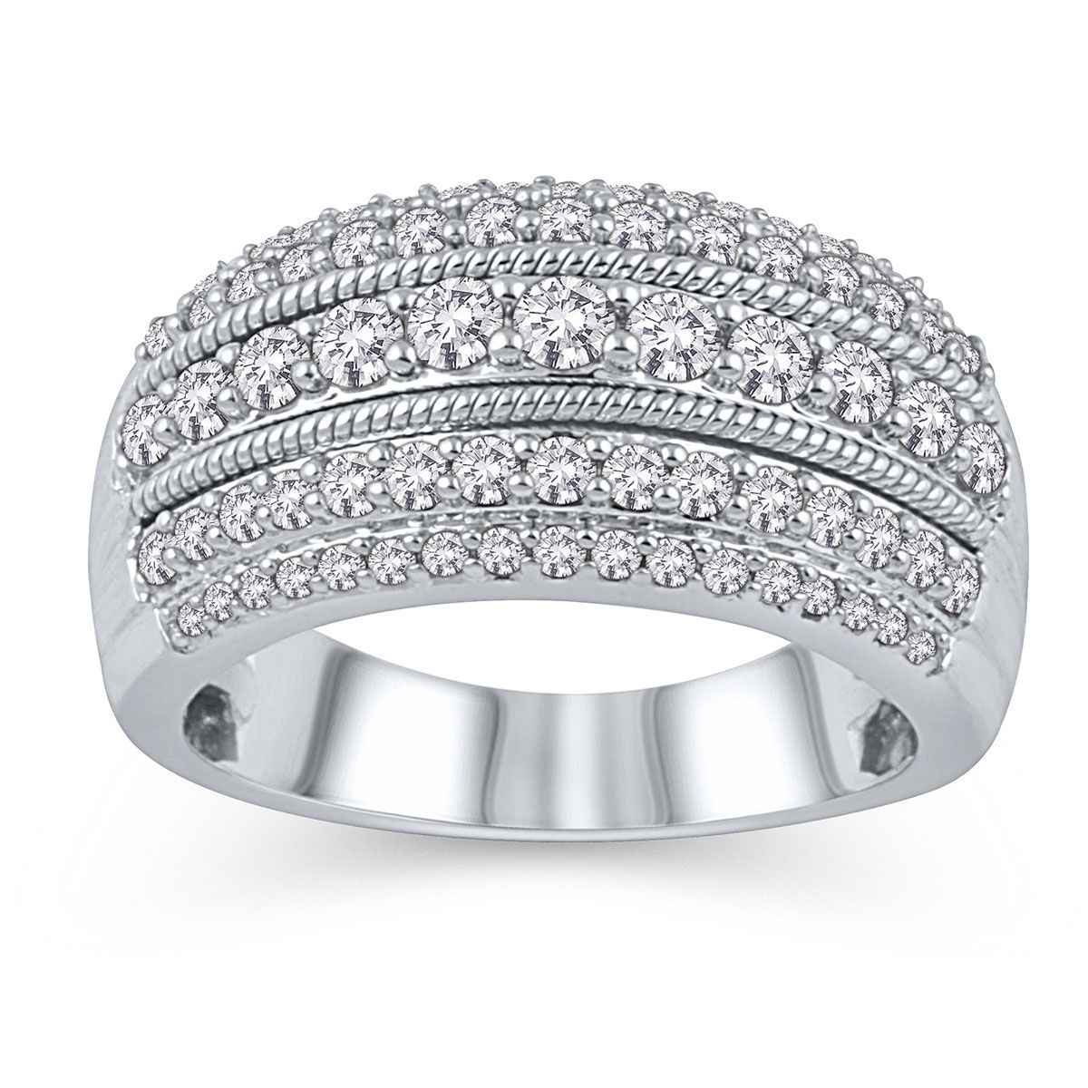 Five Row Diamond Anniversary Band In 14K White Gold, 1Ctw With Recent Diamond Five Row Anniversary Rings In White Gold (View 15 of 25)