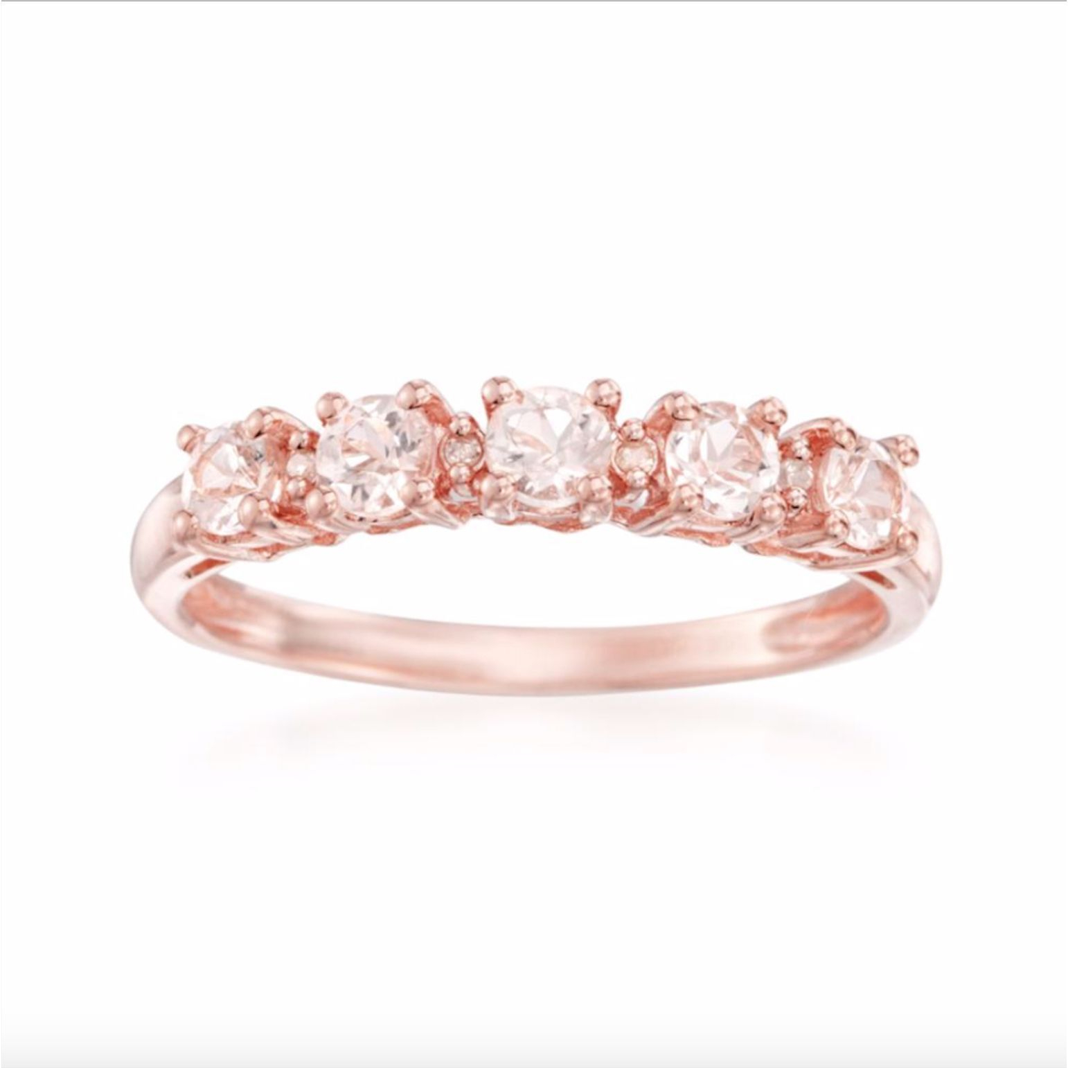 Five Sparkling Morganite Gemstones Are Set Along The Face Of The For Current Simple Sparkling Band Rings (View 16 of 25)