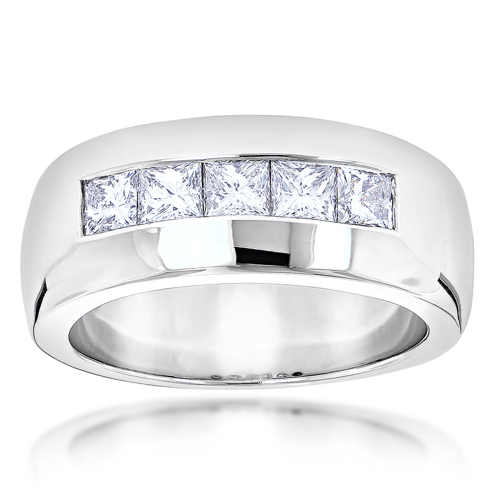 """Five Stone 14K Gold Diamond Mens Wedding Ring 1.5Ct For Most Popular Diamond Five Stone """"s"""" Anniversary Bands In Sterling Silver (Gallery 7 of 25)"""