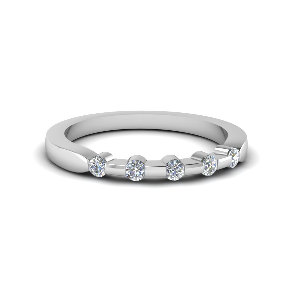 Five Stone Anniversary Band For Her In 14K White Gold Intended For Current Diamond Five Stone Bar Set Anniversary Bands In White Gold (View 13 of 25)