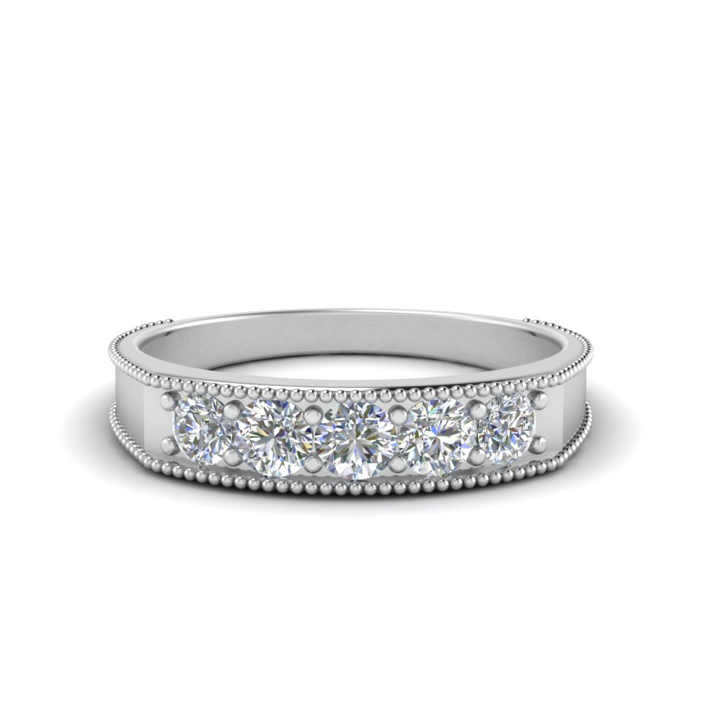 Five Stone Anniversary Band For Men For Best And Newest Diamond Five Stone Anniversary Bands In White Gold (Gallery 5 of 25)