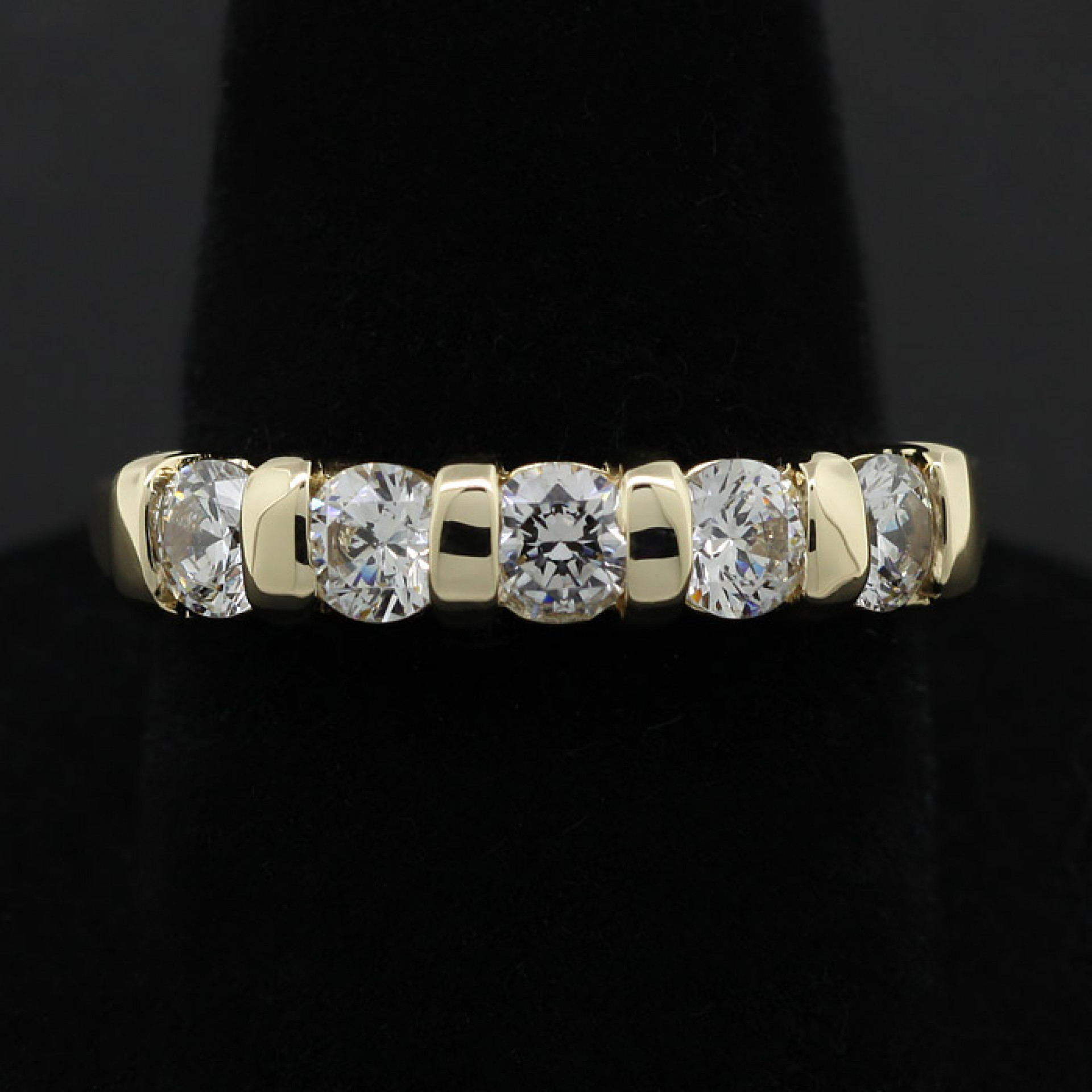 Five Stone Bar Set Wedding Band – 14K Yellow Gold – Ring Size  (View 14 of 25)