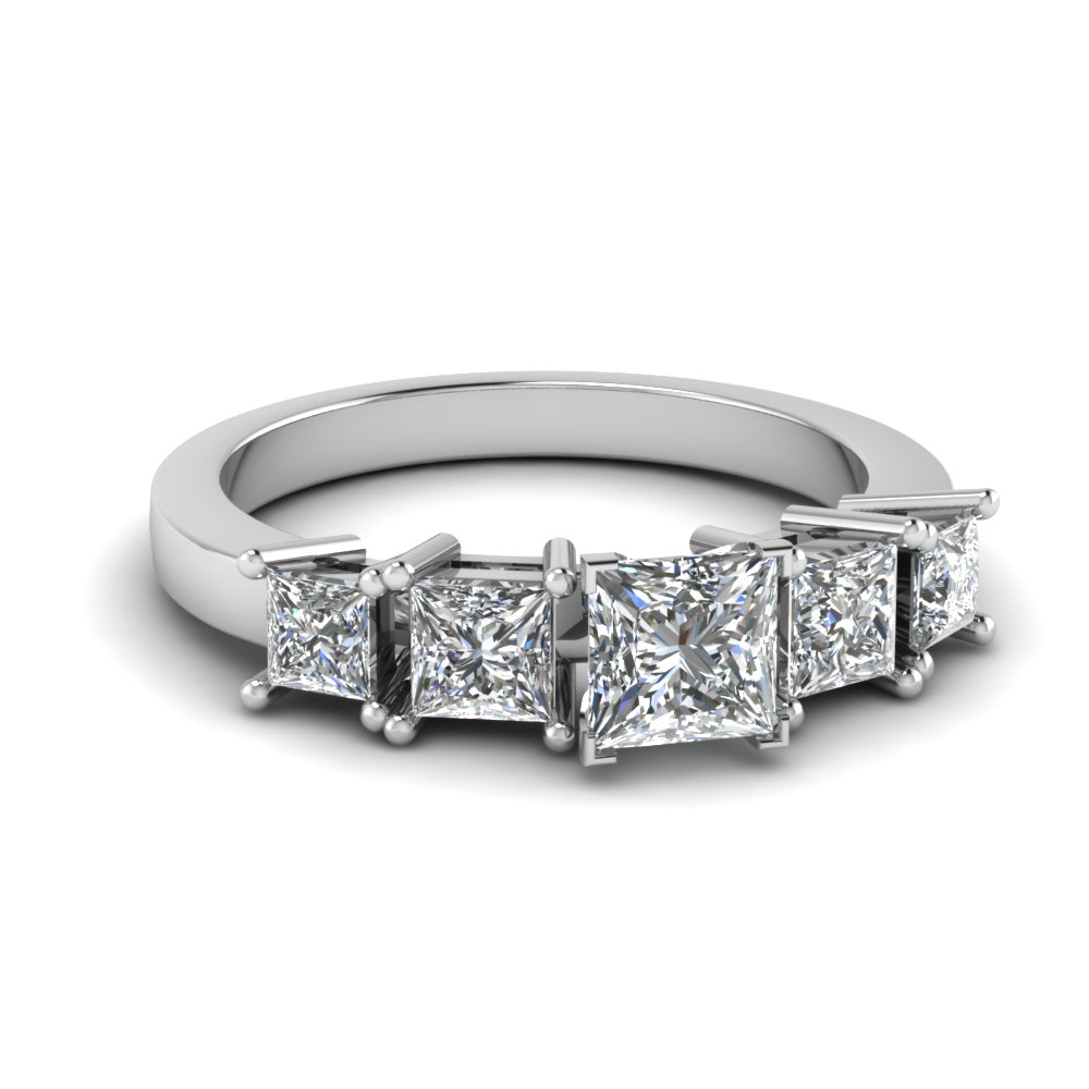 Five Stone Diamond Engagement Ring In 14k White Gold Regarding 2019 Princess Cut Diamond Five Stone Anniversary Bands In White Gold (View 2 of 25)