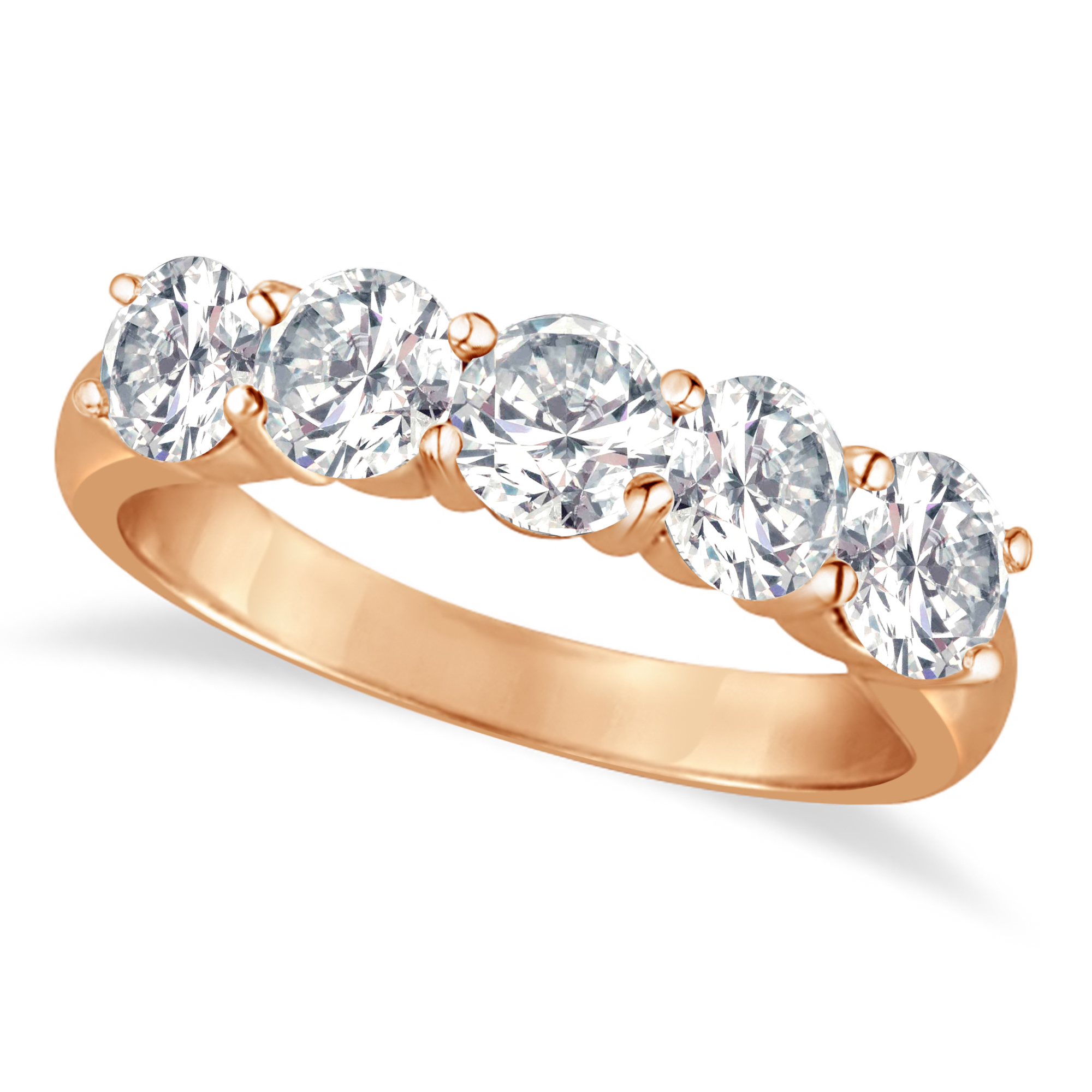 Five Stone Diamond Ring Anniversary Band 14K Rose Gold ( (View 20 of 25)
