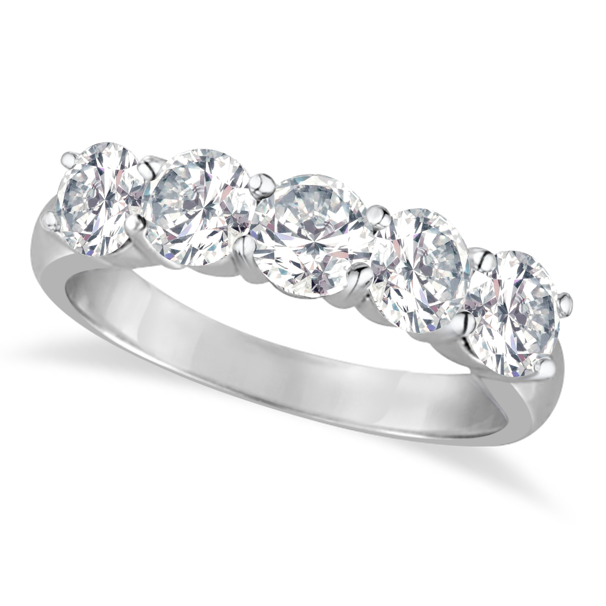 Five Stone Diamond Ring Anniversary Band 18K White Gold (2.00Ct) With Current Diamond Five Stone Anniversary Bands In White Gold (Gallery 21 of 25)