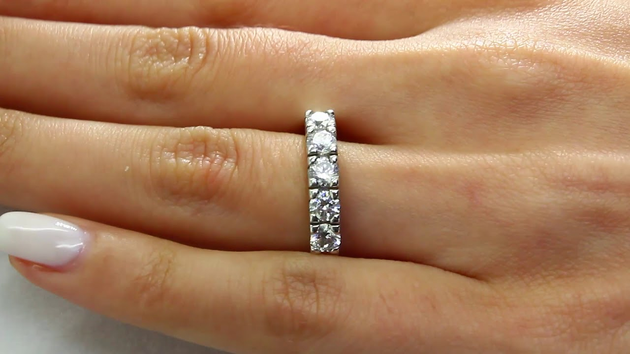Five Stone Diamond Wedding Anniversary Band Ring In White Gold (Mvsx0009 W) In Most Popular Diamond Five Stone Anniversary Bands In Gold (Gallery 13 of 25)