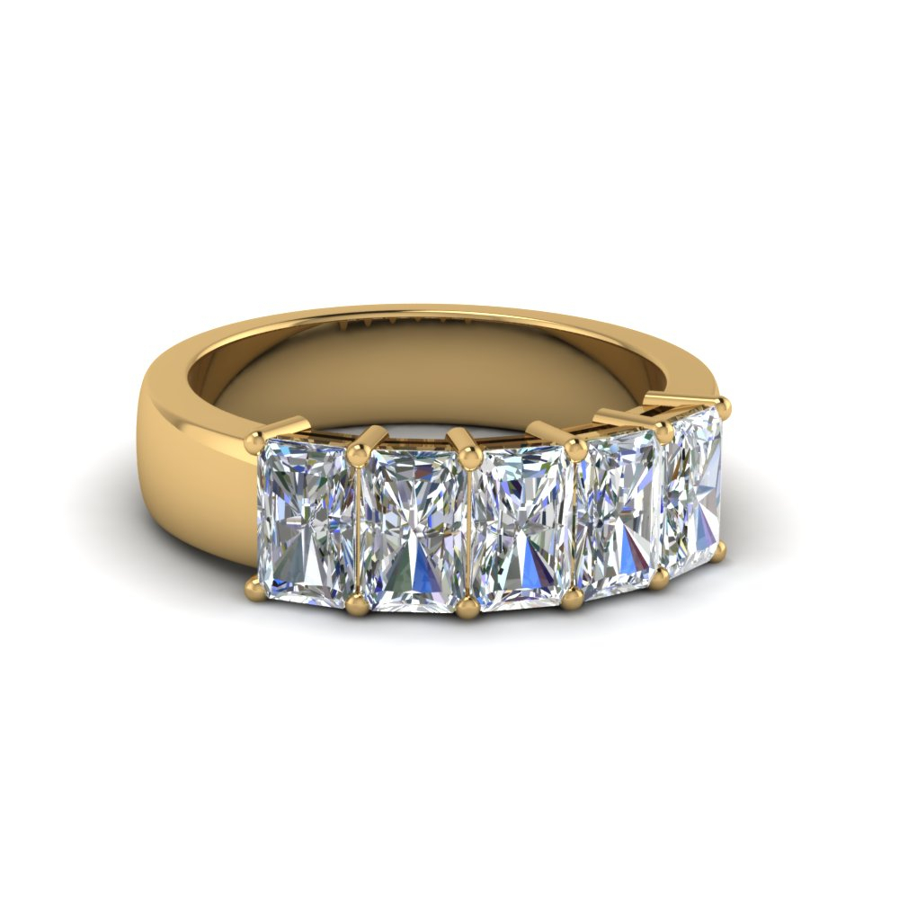 Five Stone Radiant Diamond Band 2 Ct In 2020 Diamond Five Stone Anniversary Bands In Gold (View 22 of 25)