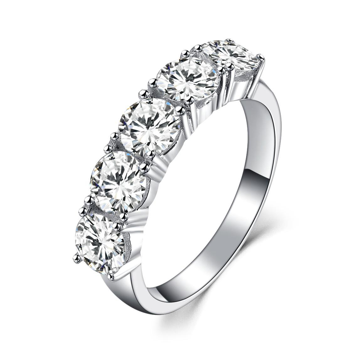 Five Stones 2.5Ct Round Cut Synthetic Diamond Wedding Female Ring Solid 925 Sterling Silver Ring White Gold Plated Jewelry With Best And Newest Diamond Five Stone Anniversary Bands In Sterling Silver (Gallery 14 of 25)