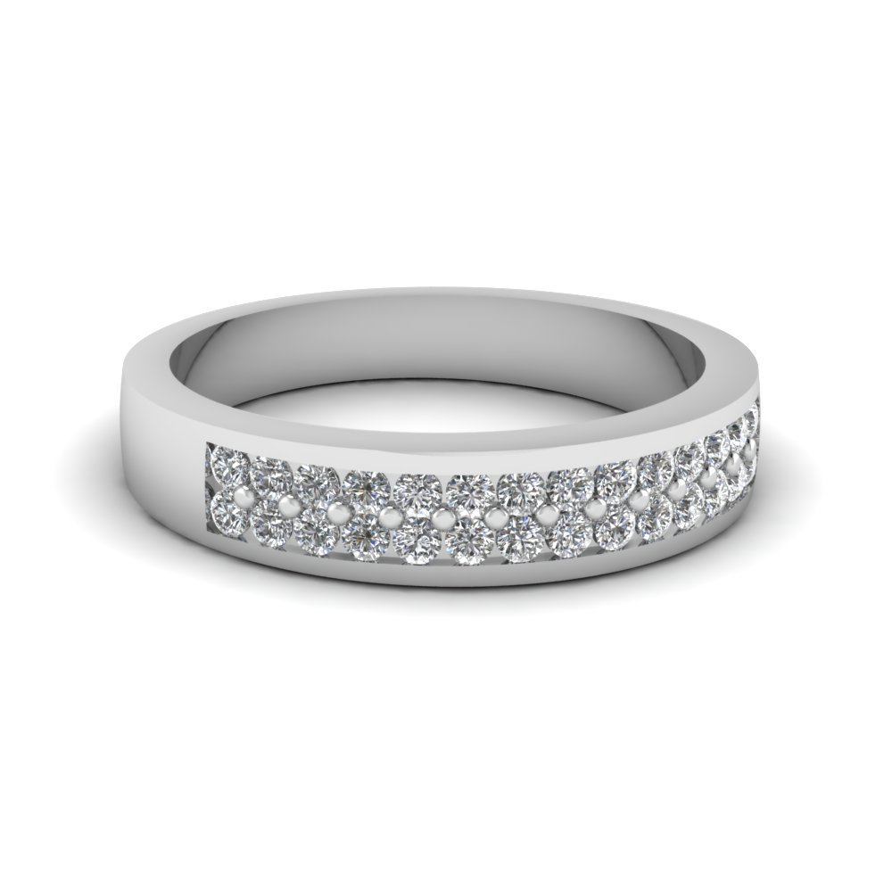 Flat 2 Row Diamond Wedding Band For Most Popular Diamond Two Row Anniversary Rings In Gold (View 16 of 25)