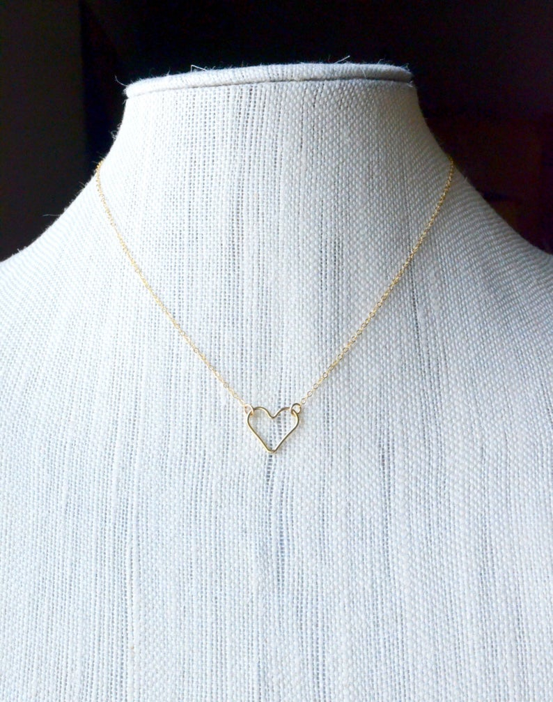 Floating Gold Heart Necklace, Dainty Open Heart, Simple Minimal Gold Heart  Jewelry, Sideways Tiny Heart, Delicate Chain, 14K Gold Filled Pertaining To Most Current Sparkling Open Heart Necklaces (Gallery 20 of 25)