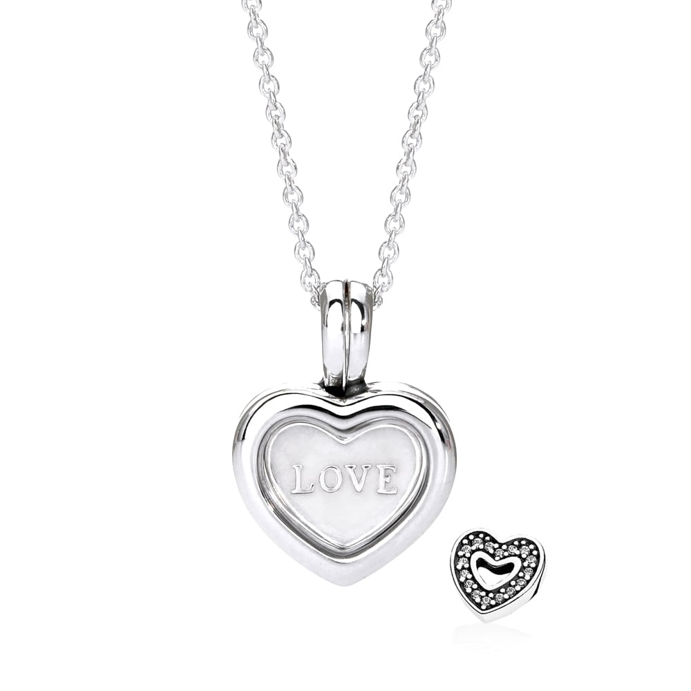 Floating Heart & Small Love Heart Plate Locket Necklace Pertaining To Most Recent Heart Locket Plate Necklaces (View 4 of 25)