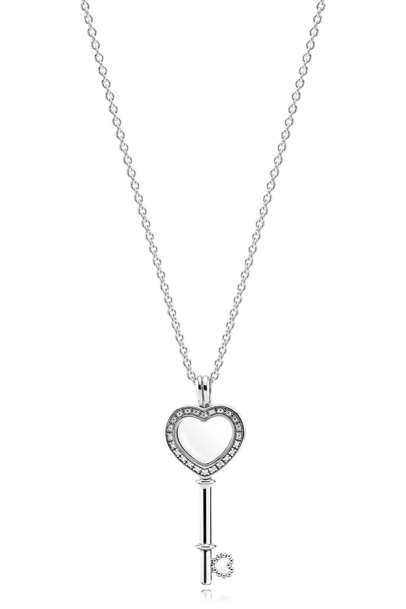 Floating Locket Heart Key Necklace With Regard To Most Recent Pandora Lockets Crown O Necklaces (View 21 of 25)