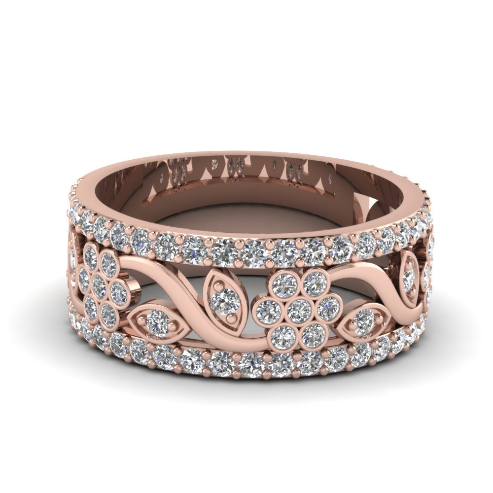 Floral Entrance Band For Current Diamond Channel Anniversary Bands In Rose Gold (Gallery 8 of 25)