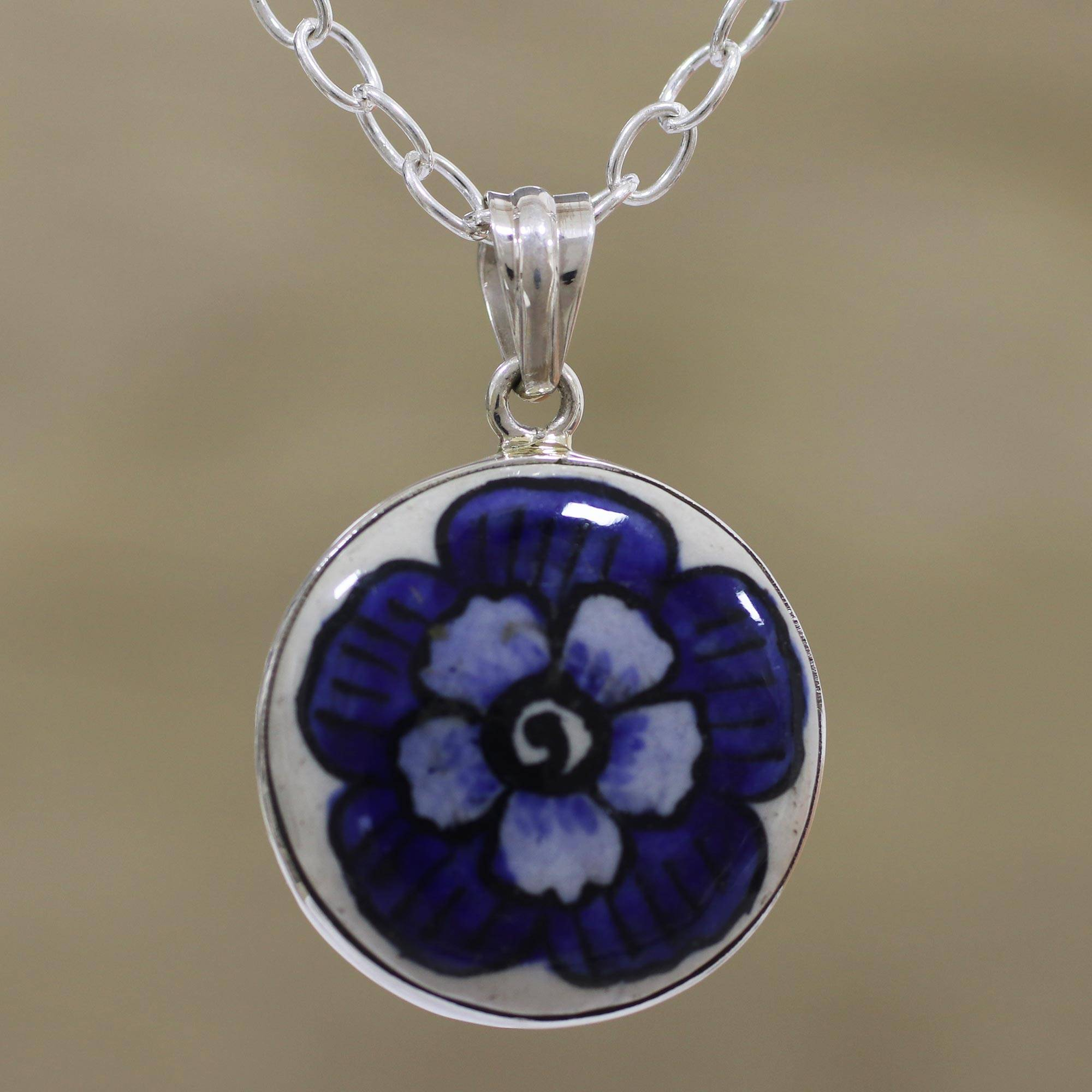 Floral Sterling Silver And Ceramic Necklace From India, 'glorious Bloom' With Latest Glorious Bloom Pendant Necklaces (View 12 of 25)