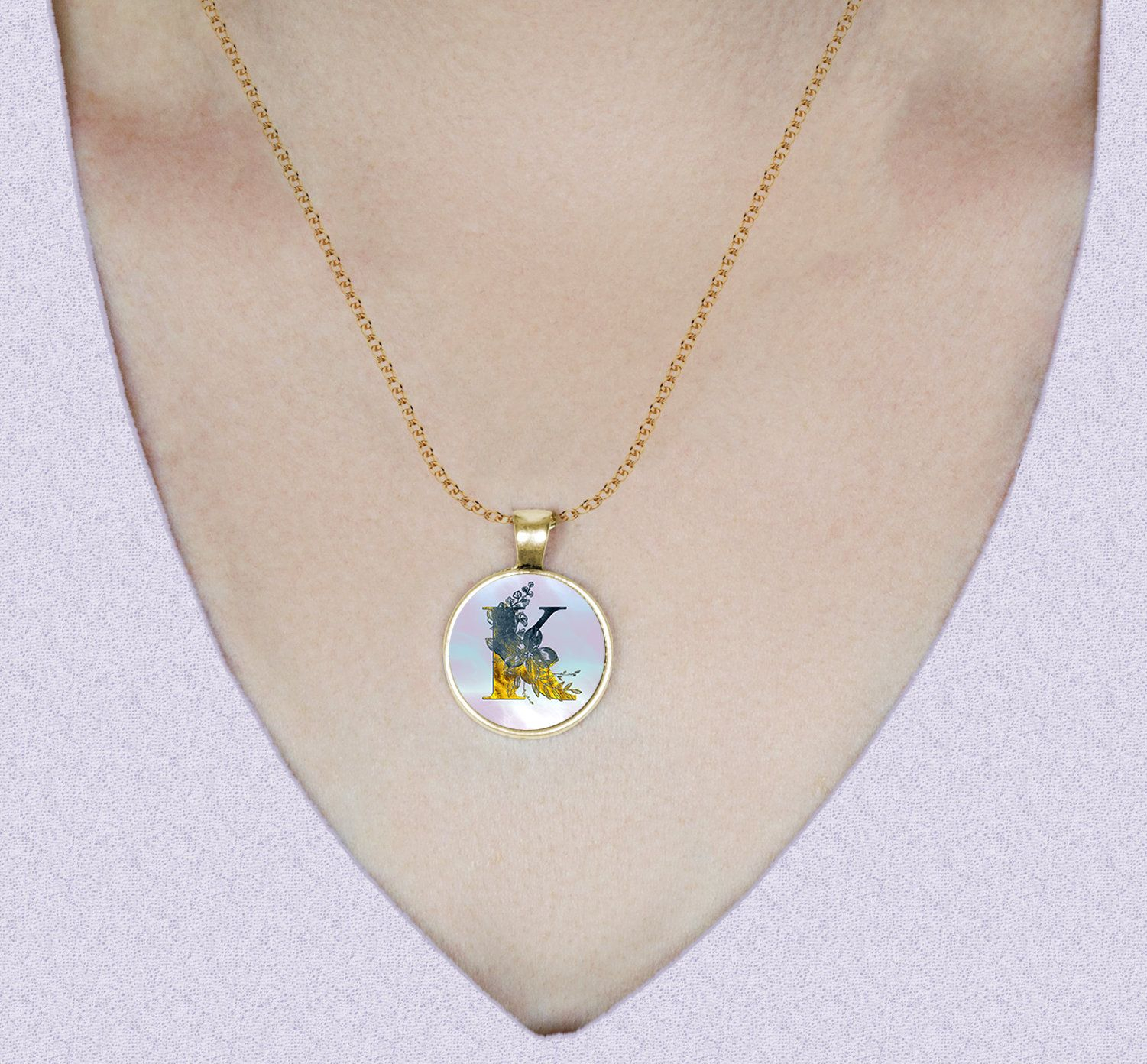 Floral Watercolor Letter K, Gold Accents, Round Pendant Necklace In Most Recent Letter K Alphabet Locket Element Necklaces (View 12 of 25)