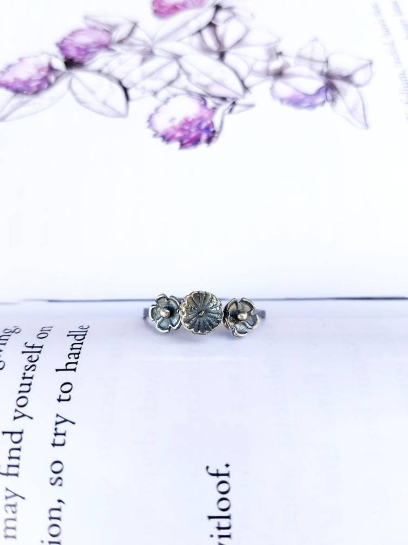 Flower Crown Ring  Made To Order  Sterling Silver Flower Ring, Silver  Floral Ring, Sterling Silver Ring, Antique Floral Ring, Silversmithed In Recent Flower Crown Rings (View 7 of 25)