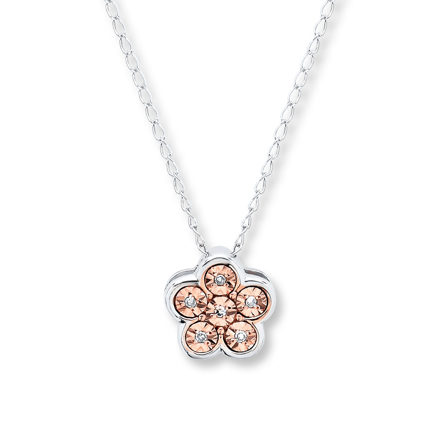 Flower Necklace Diamond Accents Sterling Silver – 173219609 – Kay Regarding Most Recent Sparkling Daisy Flower Locket Element Necklaces (View 16 of 25)