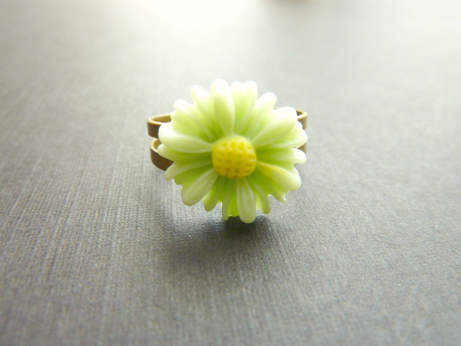 Flower Ring Pale Mint Green Daisy Flower On Adjustable Vintage Base Regarding Most Recent Daisy Flower Rings (Gallery 21 of 25)