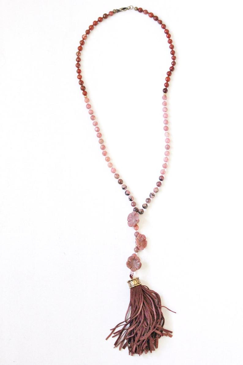 Flower Stone Necklace, Y Necklace, Flowers, Floral Beards, Pink, Red,  Tassel, Faux Suede, Jasper, Natural Stones In Newest String Of Beads Y  Necklaces (Gallery 19 of 25)