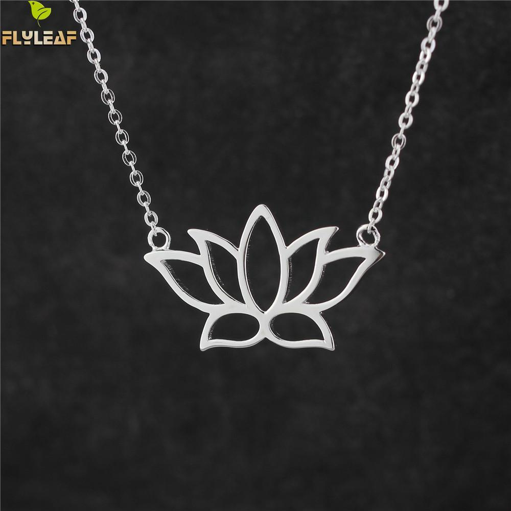 Flyleaf 925 Sterling Silver Buddhist Elements Lotus Flower Necklaces & Pendants For Women Elegant Lady Sterling Silver Jewelry In 2020 Classic Flower Locket Element Necklaces (Gallery 12 of 25)