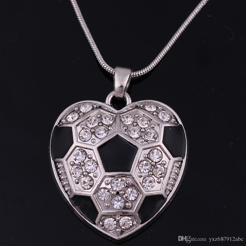 For Woman Jewelry Soccer Football Crystal Black Enamel Heart Shaped Charm  Pendant Snake Chain Necklace Sports Fan Jewelry Throughout Newest Heart Fan Pendant Necklaces (View 10 of 25)