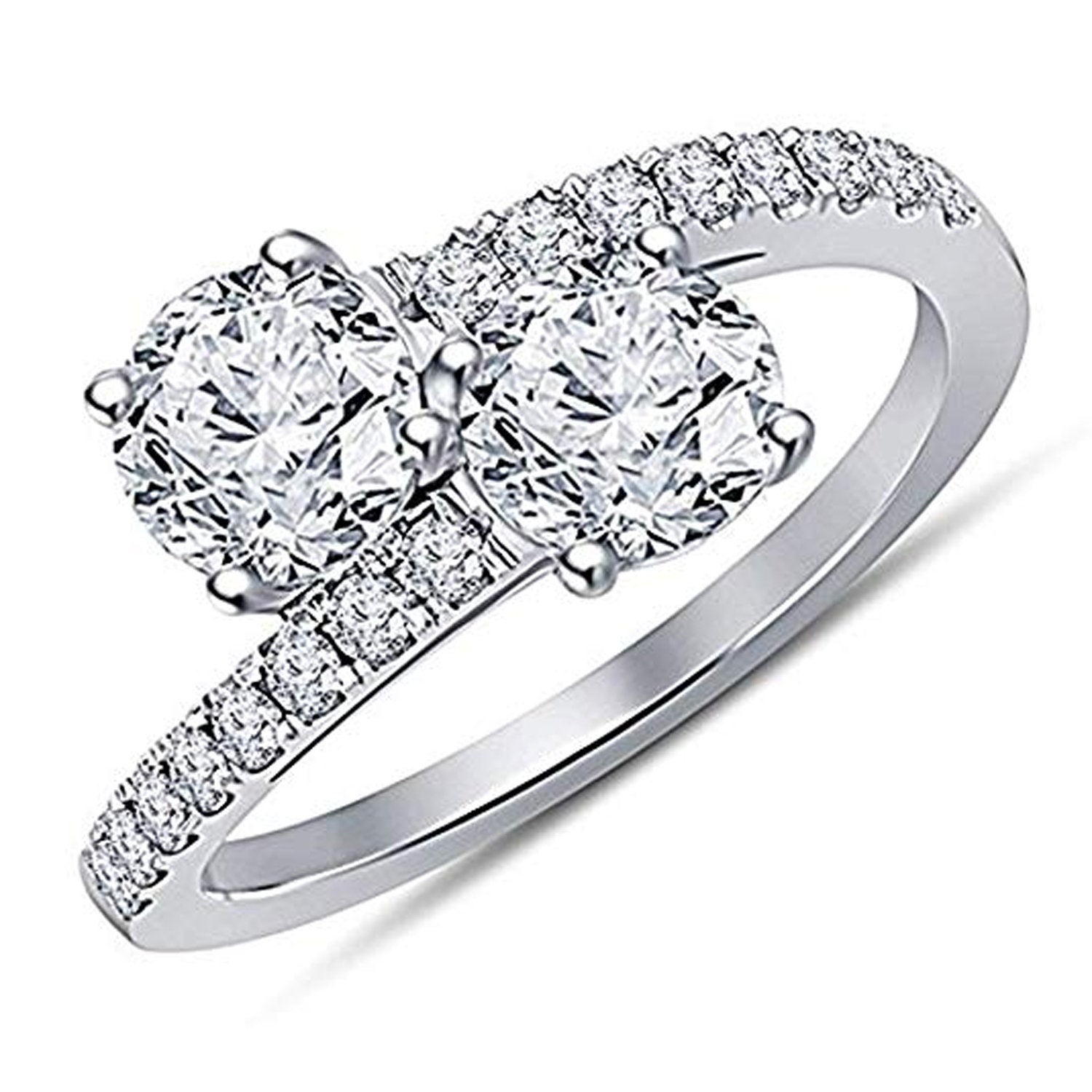 Forever Us Two Stone Round Cz Diamond, Solitaire Wedding Engagement Ring,  14K Gold Over .925 Sterling Silver, Bypass Promise Womens Ring Inside Newest Diamond Seven Stone Bypass Anniversary Bands In Sterling Silver (Gallery 19 of 25)