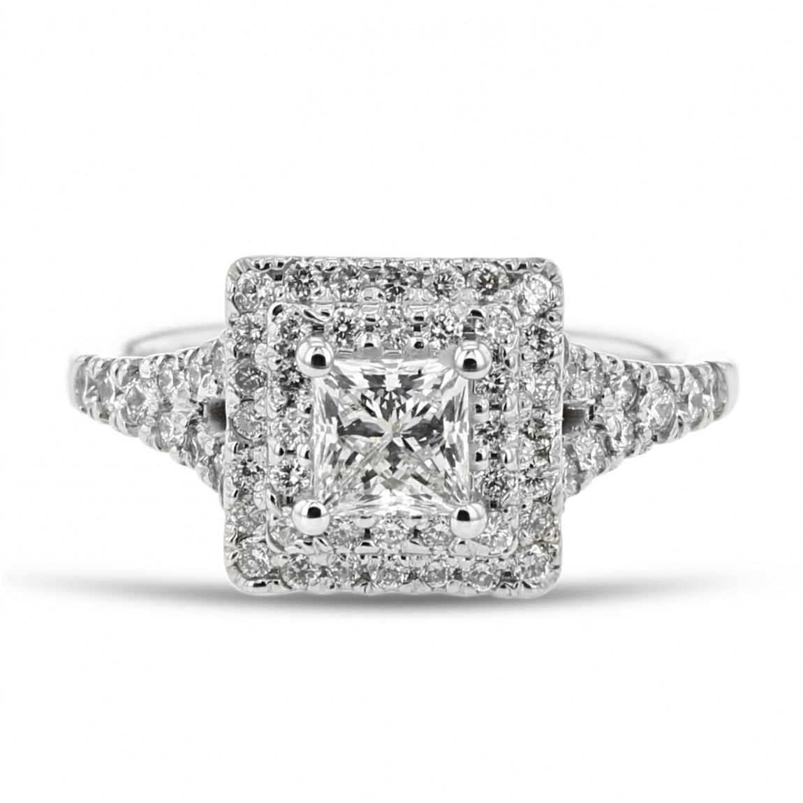 Forevermark Diamond Double Halo Engagement Ring, Princess, 18K White Gold, .53Ct, .45Tdw With 2020 Diamond Double Frame Anniversary Bands In White Gold (Gallery 15 of 25)