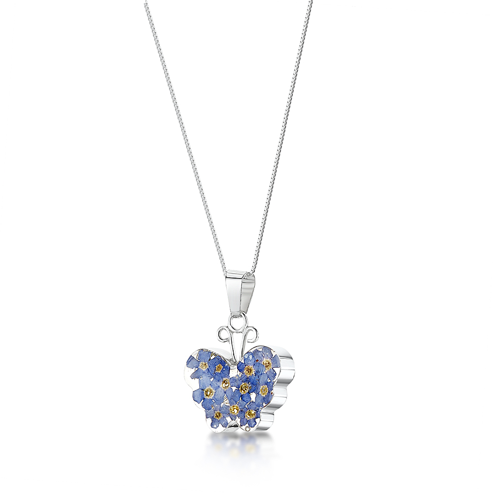 Forget Me Not Necklace, Butterfly Within Most Recently Released Forget Me Not Necklaces (Gallery 16 of 25)