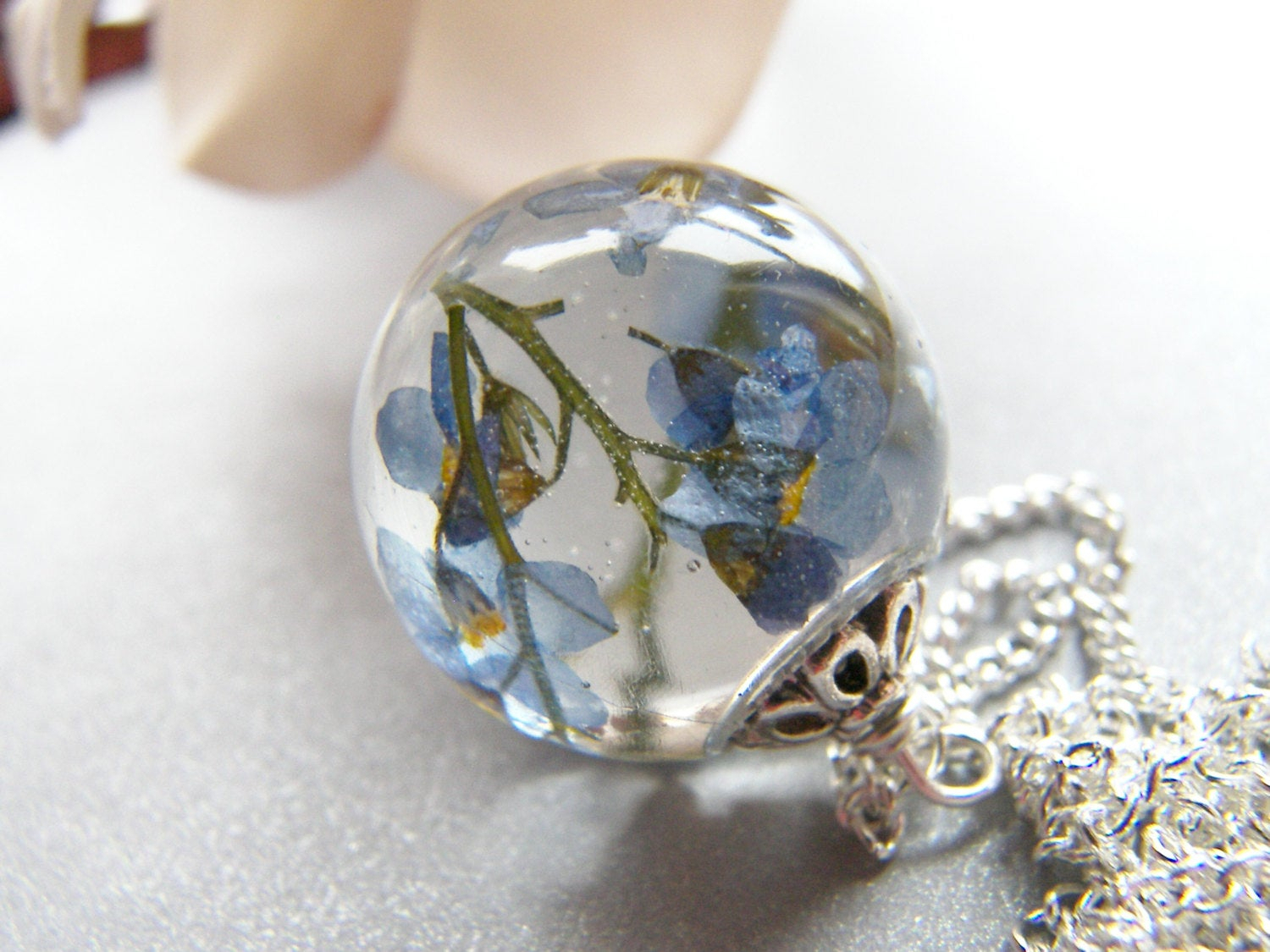 Forget Me Not Necklace, Real Flower Necklace, Resin Necklace, Something  Blue, Remembrance Necklace, Mothers Day Gift Intended For Recent Forget Me Not Necklaces (Gallery 18 of 25)