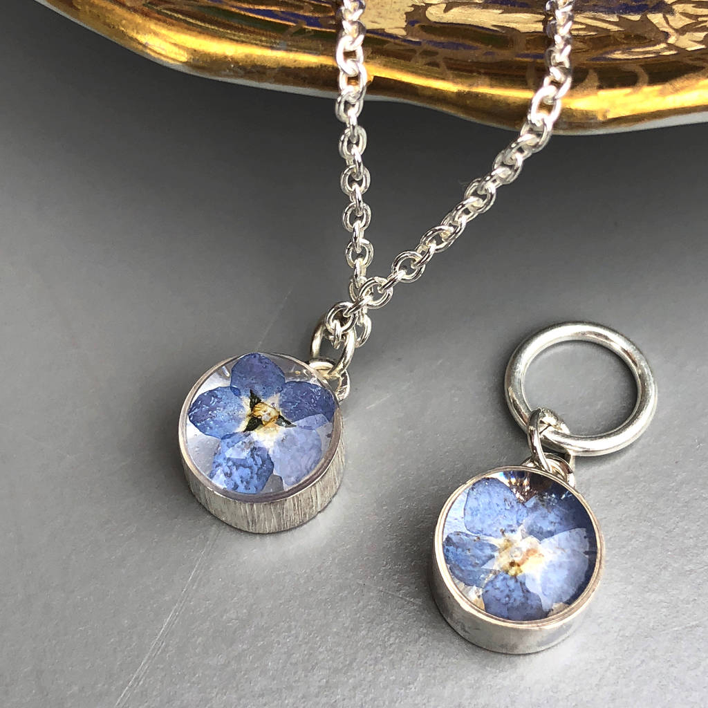 Forget Me Not Sterling Silver Resin Necklace Throughout Most Popular Forget Me Not Necklaces (View 11 of 25)