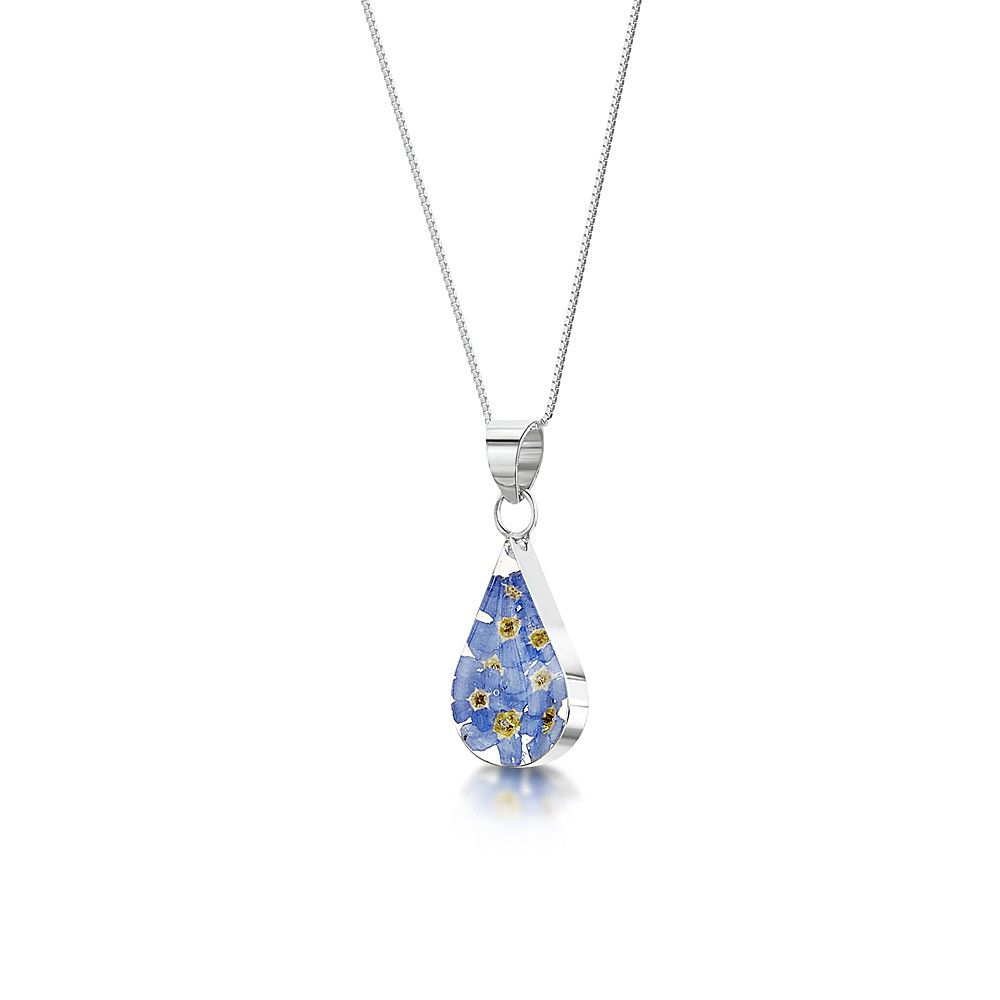 Forget Me Not Teardrop Small Silver Necklaceshrieking Violet Throughout 2019 Forget Me Not Necklaces (View 17 of 25)