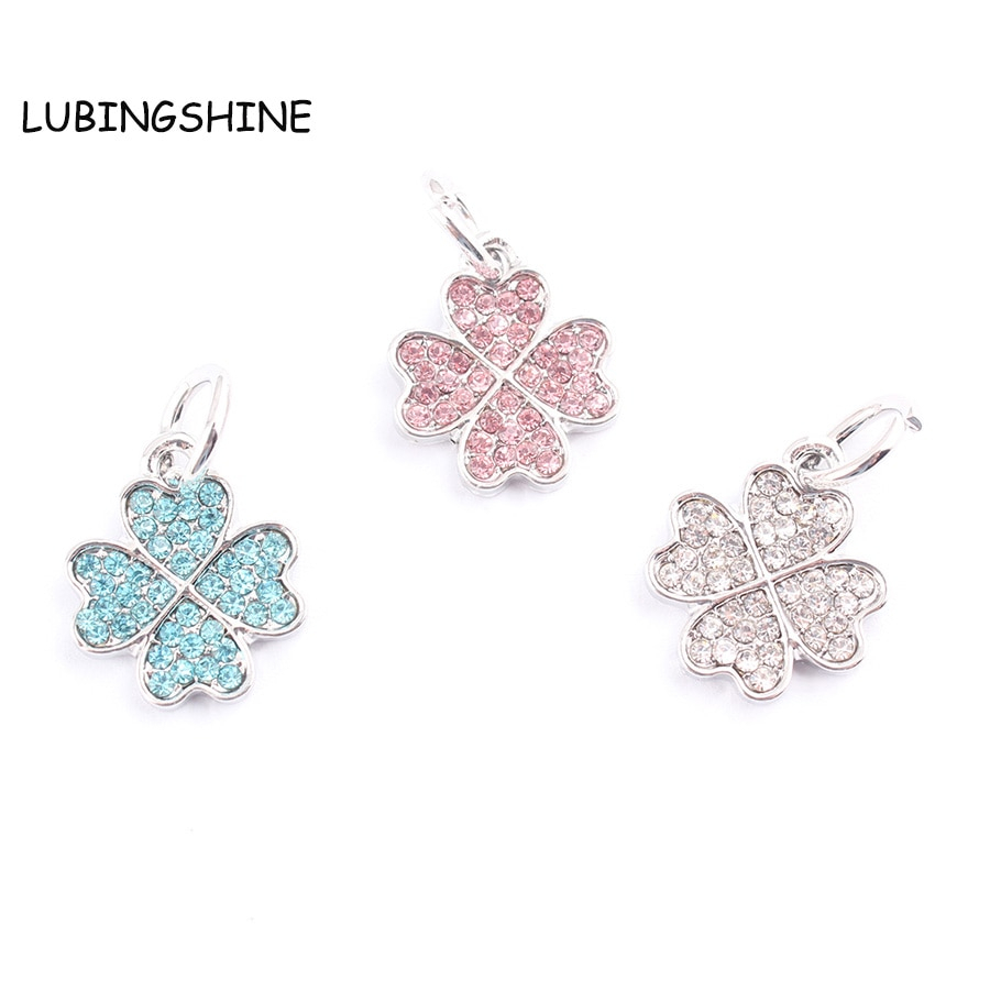 Four Leaf Clover Dangle Charm Fit Original Bracelet & Necklace Silver  Plated Crystal Diy Lucky Love Pendants Jewelry Making C268 In Charms From In Latest Lucky Four Leaf Clover Dangle Charm Necklaces (View 10 of 25)
