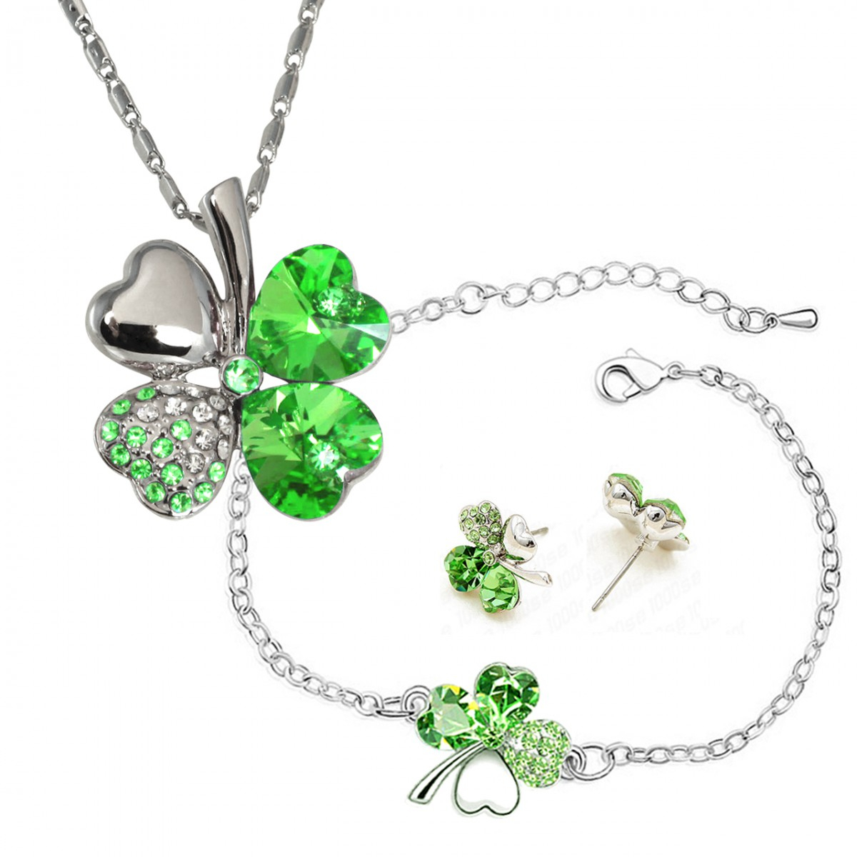 Four Leaf Clover Heart Shaped Swarovski Elements Crystal Rhodium With Regard To Newest Lucky Four Leaf Clover Locket Element Necklaces (View 4 of 25)