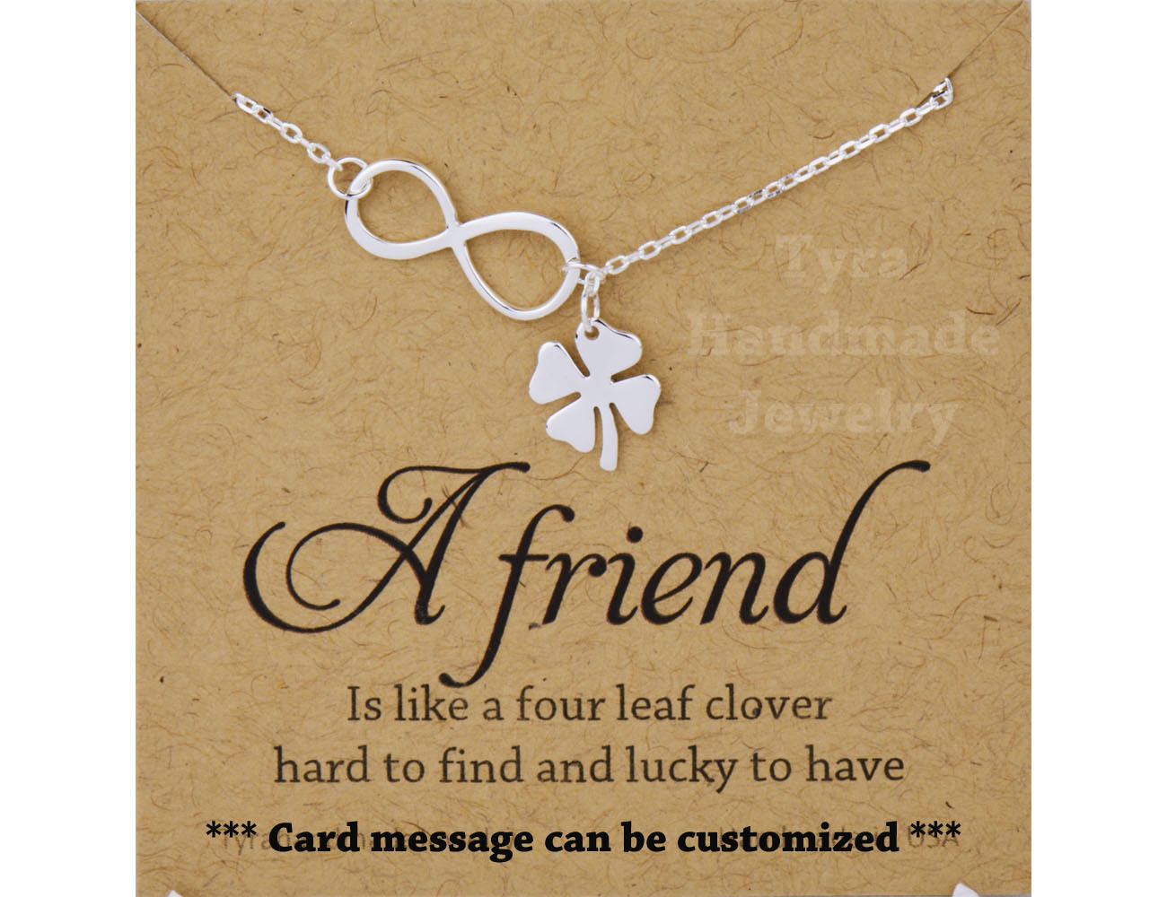 Four Leaf Clover Infinity Lariat Y Necklace With Note Card,shamrock  Necklace,infinity Shamrock,best Friend,st Patricks Day Gift,sisterhood Within Most Recently Released Lucky Four Leaf Clover Y  Necklaces (Gallery 6 of 25)