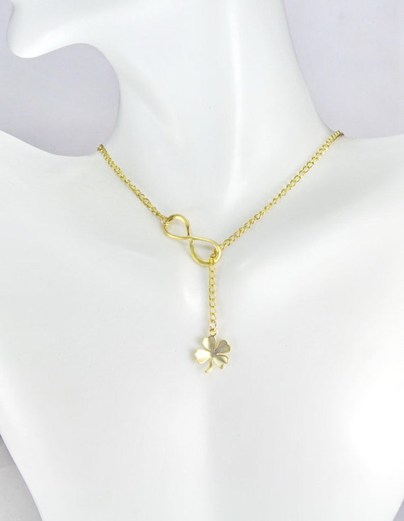 Four Leaf Clover Jewelry,infinity Lariat Y Necklace,shamrock Necklace,gold Or Silver Shamrock, Gift For Best Friend, Good Luck Necklace With Regard To Most Current Lucky Four Leaf Clover Y Necklaces (Gallery 16 of 25)
