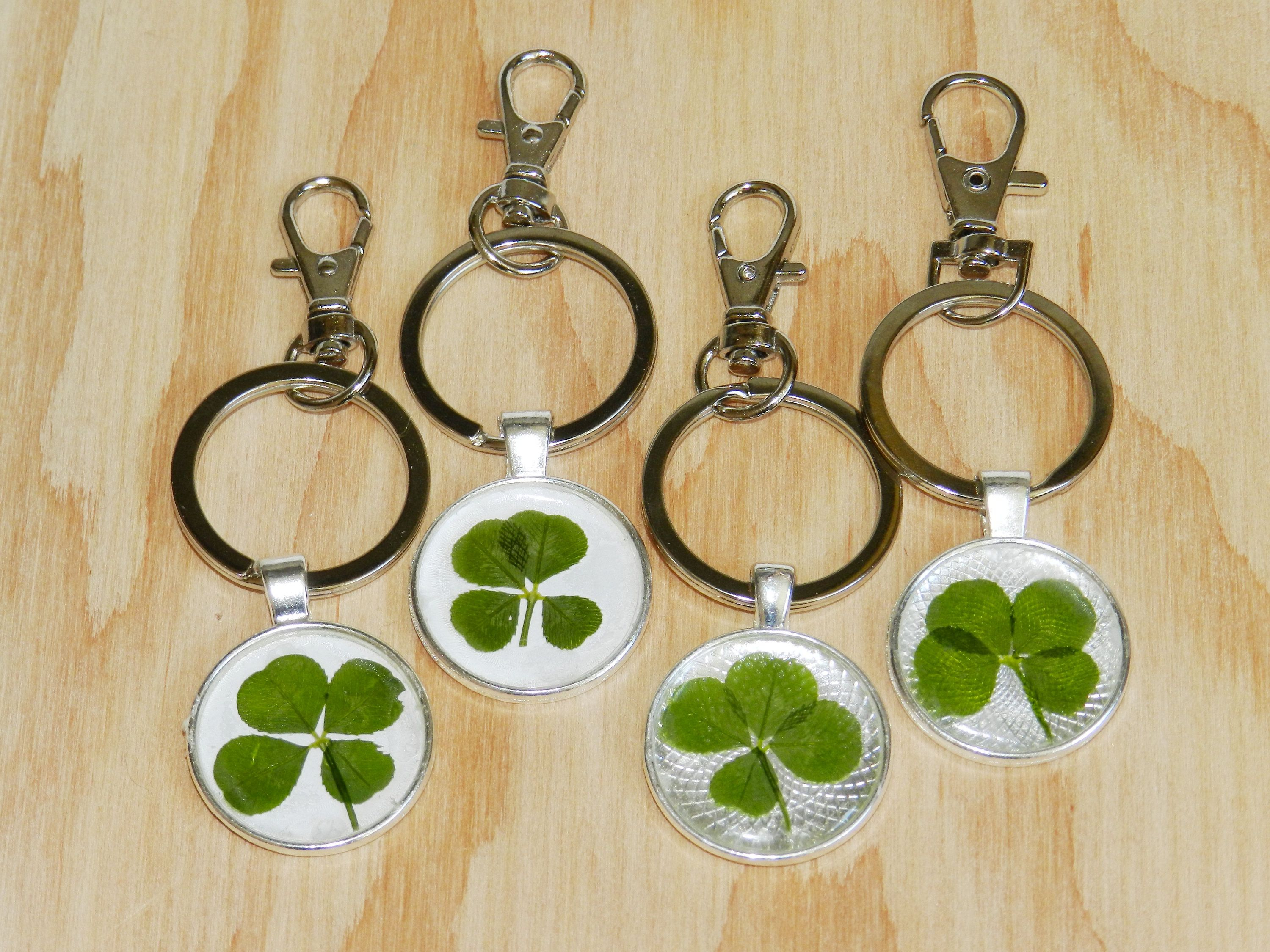 Four Leaf Clover Keychain, Lucky Key Ring, Real Four Leaf Clover Throughout Most Up To Date Lucky Four Leaf Clover Open Rings (View 6 of 25)